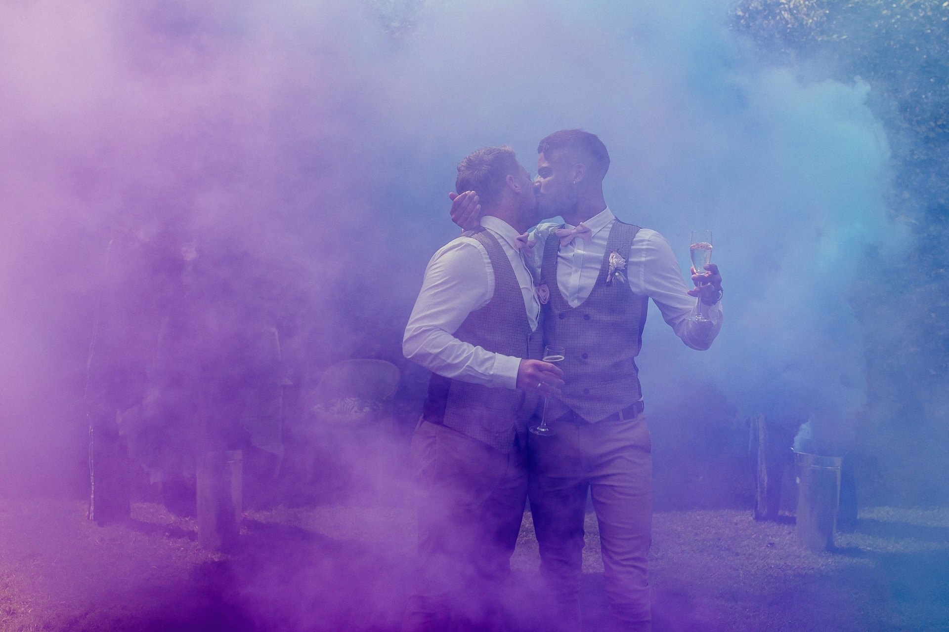 smoke bombs in blue and purple