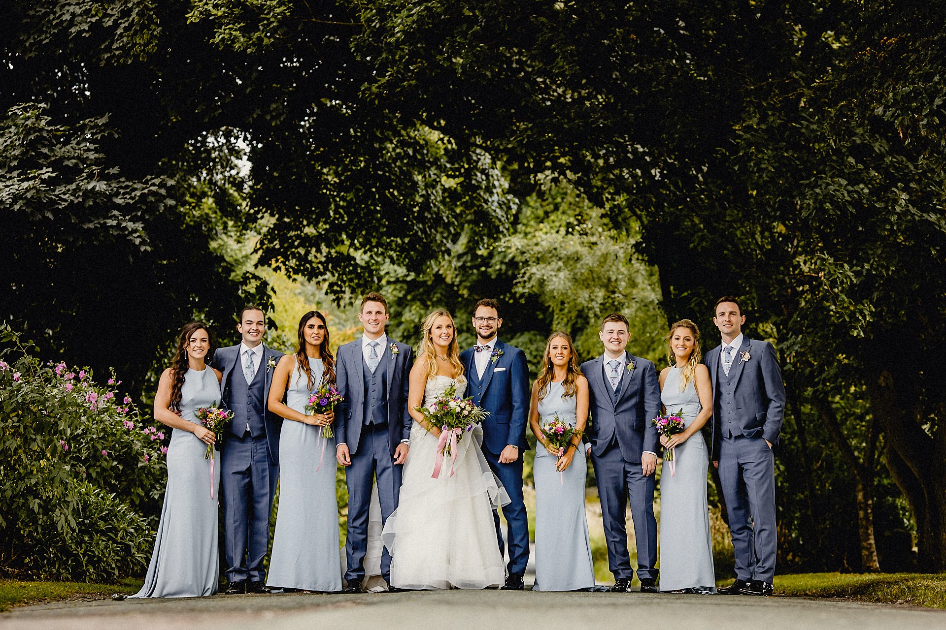 group formal photo in the lane, heaton house, rushton spencer, bridesmaids and groomsmen