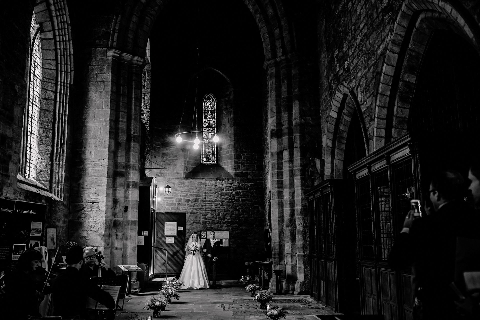 blanchlands abbey wedding photo, black and white, bride arriving with her father
