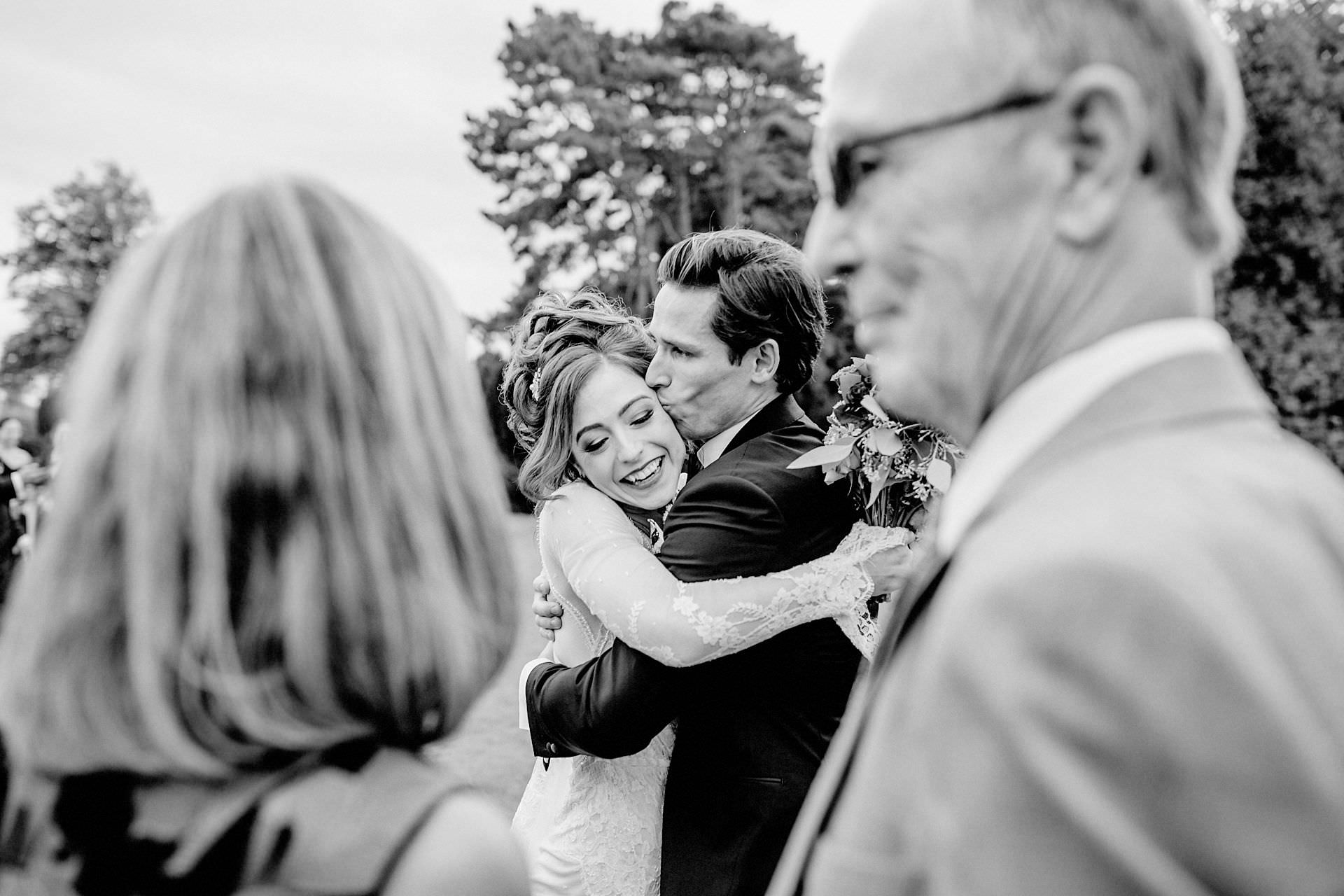 happiness, wedding day, black and white photo of the bride and groom