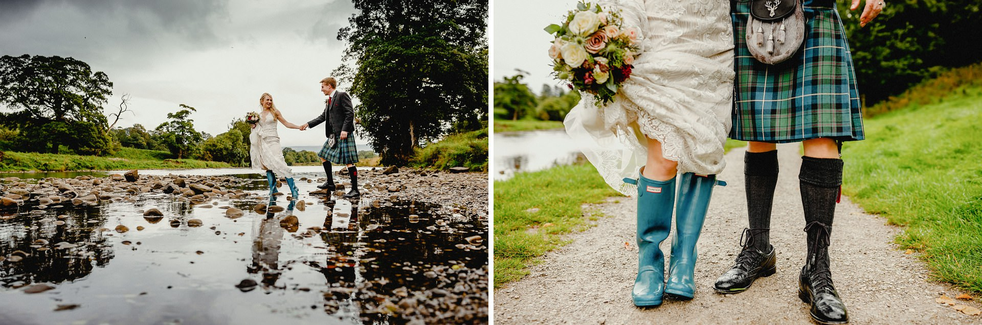 crossing the river, kilts, wedding wellies