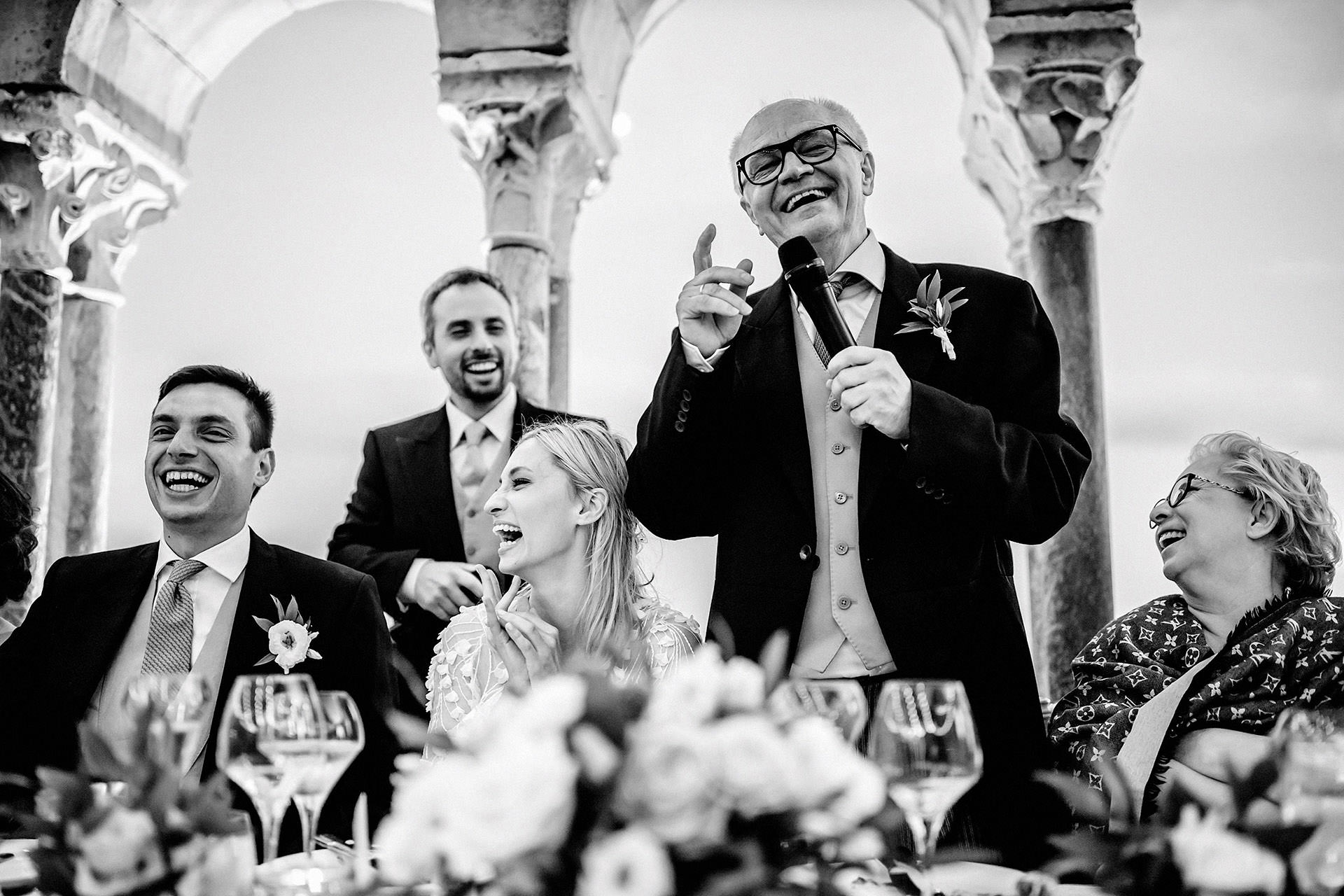 black and white photo of the father of the bride